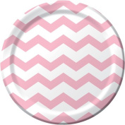 Creative Converting 423274 23cm . Dinner Plates Chevron & Dots - Classic Pink - Case of 96