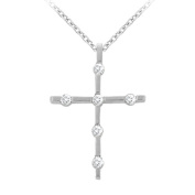 Fine Jewellery Vault UBNPD30827W14CZ April Birthstone Cubic Zirconia Cross Pendant in 14K White Gold