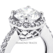 Diamond Traces D-P1251-2-ENR8858-4045 2.23 Carat Total Natural Diamonds 14K White Gold 4-Prong Setting Accents Engagement Ring