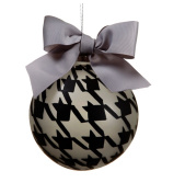 NorthLight 12cm . Grey And Black Pied-A-Poule Glass Ball Christmas Ornament