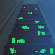 Amaonm® Removable Vinyl Glow in the Dark Christmas Wall Stickers & Murals Creative Luminous Wall Decals Mouse Holes Fluorescent Wall Sticker for Stair Step Ladder Kids Bedroom Foot Line