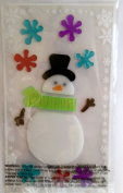 Christmas Winter Snowman Gel Window Clings ~ Snowman with Hat & Scarf & Snowflakes