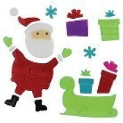Holiday Gel Window Clings ~ Christmas Santa and Sleigh with Presents