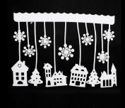 red cherry white foam snow house window sticker wichdow cling decorations