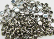 Amanteao Silvery Double Cap Rivets High Terrace Plane Cap 6mm and Post 4mm Pack of 100 Sets