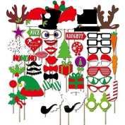 Christmas Photo Booth Props, Party photo props, Christmas decorations, NO DIY Required, attached to the stick 50 pcs by USA-Sales Seller