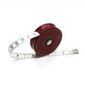 Red, Leather-Covered Retractable Tape Measure, 150cm , Made in Germany