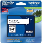 Brother TZE241 TZe Standard Adhesive Laminated Labelling Tape 3/4w Black on White