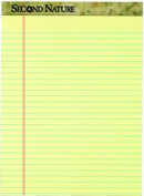 TOPS 74890 Second NatureLegal Pad legal rule canary perforated recycled 50 SH per PD 12 PD per PK