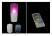 Candle Choice C62R-P246R Plastic Round Pillar Remote Control Multi-Colour LED Outdoor Candle Light