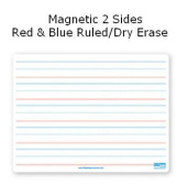 Flipside Products 10176 9x12 Dry Erase Board Magnetic Both Sides Red & amp; Blue Ruled-Dry Erase