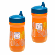 Zak Designs Toddlerific Perfect Flo Spout Toddler Cup with Orange Monkey, Double Wall Insulated Construction and Adjustable Flow Technology, Break-resistant and BPA-free Plastic, 260ml, Set of 2