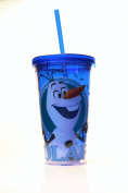 Silver Buffalo DP38087 Disney Olaf with Name BPA-Free Plastic Cold Cup with Lid and Straw, 470ml, Blue