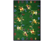Joy Carpets Kid Essentials Early Childhood Round Monkey Business Rug, Green, 2.1m
