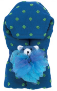 AM PM Kids! Green Dot Hooded Towel with Baby Loofah, Navy