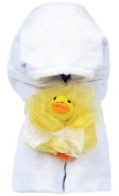 AM PM Kids! Hooded Towel with Baby Loofah, White Dot
