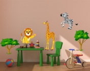 Style and Apply Colourful Wild Animal Wall Decal Set