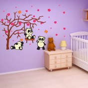 Style and Apply Colourful Panda Kids Wall Decal Set