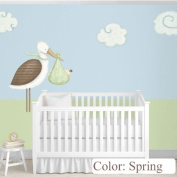 My Wonderful Walls Baby Nursery Wall Decor Standing Stork Decals and Cloud Wall Stickers, Spring