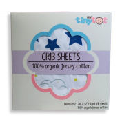 Fitted Crib Sheets - 100% Organic Jersey Cotton - 2-Pack, Extremely Soft, Breathable, Cuddly, Snugly Fits all Standard Crib Mattresses, Finest Organic Cotton, Cute Design for Boys