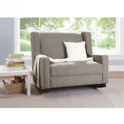 Baby Relax Double Rocking Chair Grey Upholstered Couch for Nursery / Living Room Furniture