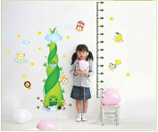Jungle Animal Living in the Bamboo Shoot Growth Chart Wall Sticker Wall Decor Wall Decal Wallpaper for Kids Nursery Playground