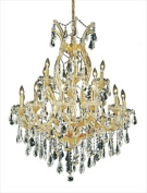 Elegant Lighting 2801D32G/SS Theresa Collection 19-Light Hanging Fixture with. Strass/Elements Crystal, Gold Finish