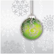 Creative Converting 659910 18 Count Beverage Napkins, Jingle Bells, Silver/Green