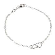 Sterling Silver Link Heart Bracelet