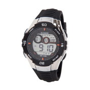 All Blacks Men's Multifunction LCD Watch Black and Silver
