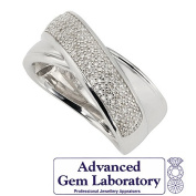 Sterling Silver Diamond Cross Over Pave 0.35ct Ring