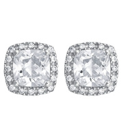 Brilliance Sterling Silver CZ Cushion Halo Earrings