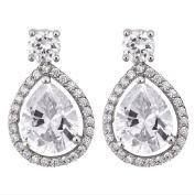 Brilliance Sterling Silver CZ Fancy Tear Drop Earrings