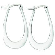 Sterilng Silver Medium Flat Hoop Earrings