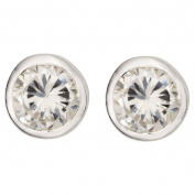 Sterling Silver CZ Rub Over Stud Earrings 4mm