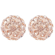 Sterling Silver Champagne Crystal Earrings 8mm
