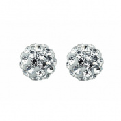 Sterling Silver Crystal Stud Earrings 6mm