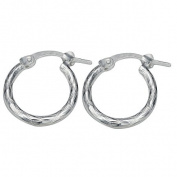 Sterling Silver Diamond Cut Hoop Earrings 10mm