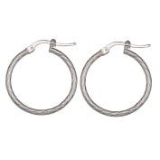 Sterling Silver Diamond Cut Hoop Earrings 20mm