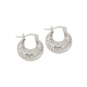 Sterling Silver Fancy Mesh Hoop Earrings