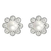 Sterling Silver Fresh Water White Pearl Crystal Stud Earrings