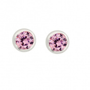 Sterling Silver Pink CZ Rub Over Stud 4mm Earrings