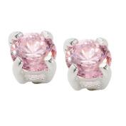 Sterling Silver Pink CZ Stud Earrings 4mm