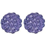 Sterling Silver Purple Crystal Earrings 8mm