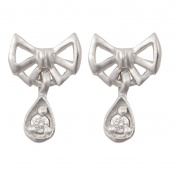 Sterling Silver Small Bow Drop CZ Earrings