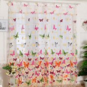 Voberry(tm) Girl Butterfly Print Sheer Window Panel Curtains Living Room Divider 200x100cm