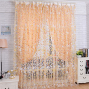 Voberry(tm) Print Floral Voile Door Sheer Window Curtains Room Curtain Divider