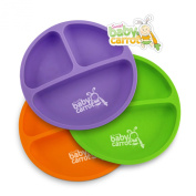 Sweet Baby Carrot Toddler Divided Plates Soft, Unbreakable, Safe, BPA Free Fun 3 Pack
