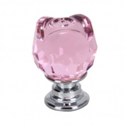 20mm Pink Crystal Glass Rose Shaped Door Knob Cabinet Cupboard Pull Drawer Handle Kitchen Wardrobe Home Hardware Come with Screw 1PCS Revesun .
