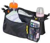 Universal stroller organiser Bag by KidLuf - 2 Cup Holders & Accessories Storage Bag for Strollers - with mesh pocket for cell phone